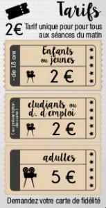 2€ le matin pour tous et pour enfants, jeunes, étudiants, demandeurs d'emploi. Sinon 5€, avec une carte de fidélité.